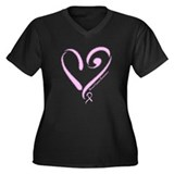 Breast Cancer Women's Plus Size V-Neck Dark T-Shir