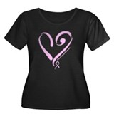 Breast Cancer Women's Plus Size Scoop Neck Dark T-