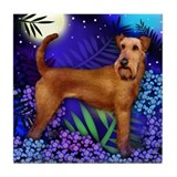 IRISH TERRIER DOG MOON GARDEN Tile Coaster