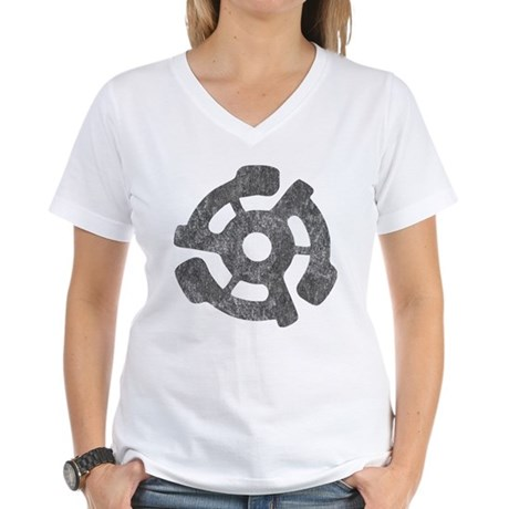 Vintage 45 RPM Womens V-Neck T-Shirt