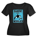 Save the Whales Women's Plus Size Scoop Neck Dark
