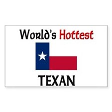 World's Hottest Texan Rectangle Decal