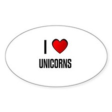 I LOVE UNICORNS Oval Decal
