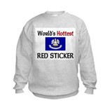 World's Hottest Red Sticker Sweatshirt