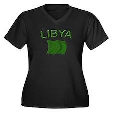 Libyan Flag Women's Plus Size V-Neck Dark T-Shirt