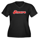 Retro Amara (Red) Women's Plus Size V-Neck Dark T-
