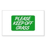 Please Keep Off Grass Rectangle Decal
