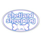 Powderpuff Shetland Sheepdog Oval Decal