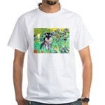 Irises / Miniature Schnauzer White T-Shirt