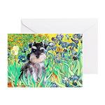 Irises / Miniature Schnauzer Greeting Cards (Pk of