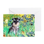 Irises / Miniature Schnauzer Greeting Card