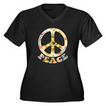 Painted Peace Symbol Women's Plus Size V-Neck Dark