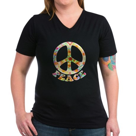 Painted Peace Symbol Women's V-Neck Dark T-Shirt