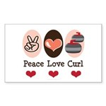 Peace Love Curl Curling Rectangle Sticker