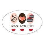 Peace Love Curl Curling Oval Sticker