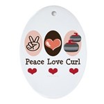 Peace Love Curl Curling Oval Ornament