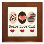Peace Love Curl Curling Framed Tile