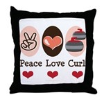 Peace Love Curl Curling Throw Pillow