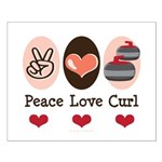 Peace Love Curl Curling Small Poster