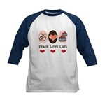 Peace Love Curl Curling Kids Baseball Jersey