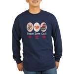 Peace Love Curl Curling Long Sleeve Dark T-Shirt
