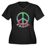 Swirling Peace Women's Plus Size V-Neck Dark T-Shi