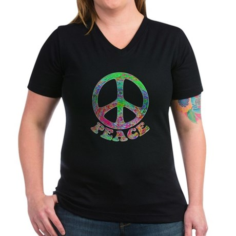 Swirling Peace Women's V-Neck Dark T-Shirt