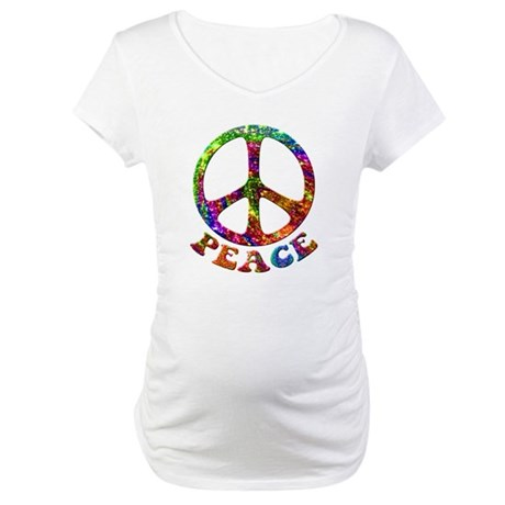 Jewelled Peace Symbol Maternity T-Shirt
