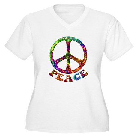 Jewelled Peace Symbol Women's Plus Size V-Neck T-S