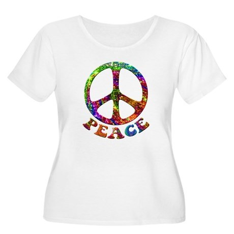 Jewelled Peace Symbol Women's Plus Size Scoop Neck