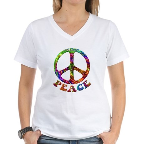 Jewelled Peace Symbol Women's V-Neck T-Shirt