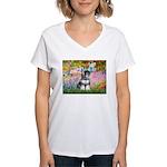 Garden / Miniature Schnauzer Women's V-Neck T-Shir