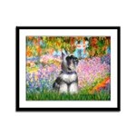 Garden / Miniature Schnauzer Framed Panel Print