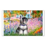 Garden / Miniature Schnauzer Sticker (Rectangle)