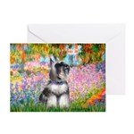 Garden / Miniature Schnauzer Greeting Card