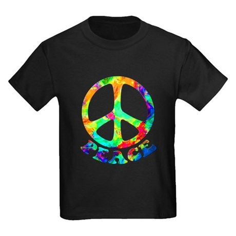 Rainbow Pool Peace Symbol Kids Dark T-Shirt