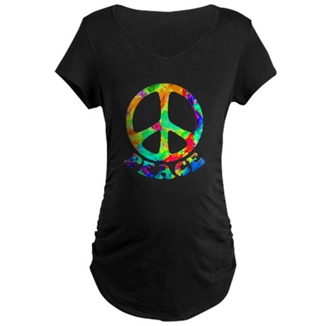 Rainbow Pool Peace Symbol Maternity Dark T-Shirt