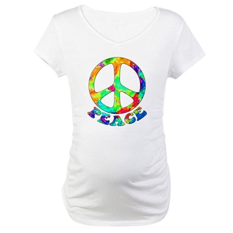Rainbow Pool Peace Symbol Maternity T-Shirt