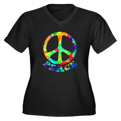 Rainbow Pool Peace Symbol Women's Plus Size V-Neck