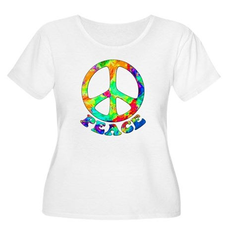 Rainbow Pool Peace Symbol Women's Plus Size Scoop