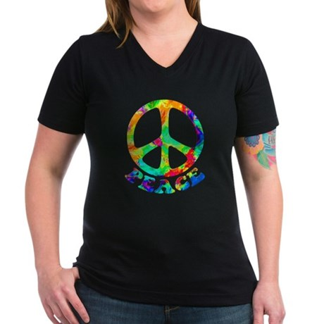 Rainbow Pool Peace Symbol Women's V-Neck Dark T-Sh