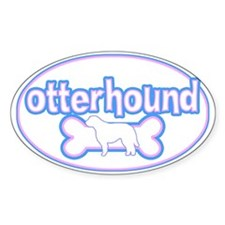 Powderpuff Otterhound Oval Decal