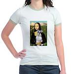 Mona Lisa/Schnauzer (#2) Jr. Ringer T-Shirt