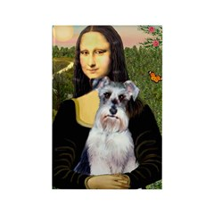 Mona Lisa/Schnauzer (#2) Rectangle Magnet (100 pac