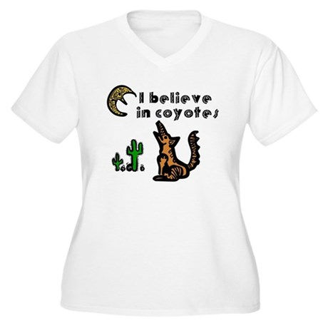 Believe in Coyotes Women's Plus Size V-Neck T-Shir