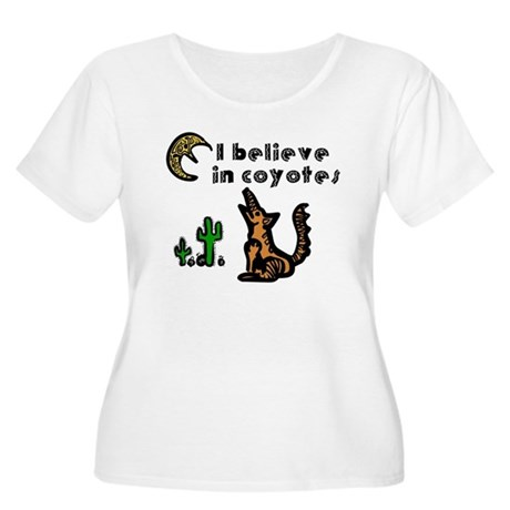 Believe in Coyotes Women's Plus Size Scoop Neck T-