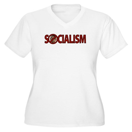 Obama: Socialism Women's Plus Size V-Neck T-Shirt
