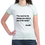 Gandhi World Change Quote Jr. Ringer T-Shirt