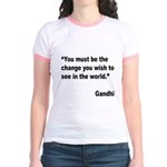 Gandhi World Change Quote (Front) Jr. Ringer T-Shi