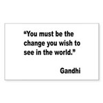 Gandhi World Change Quote Rectangle Sticker 10 pk